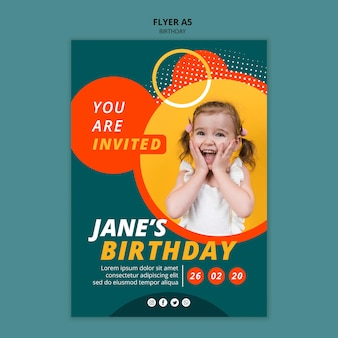 Happy birthday flyer concept template