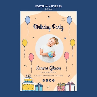 Happy birthday flyer template with photo