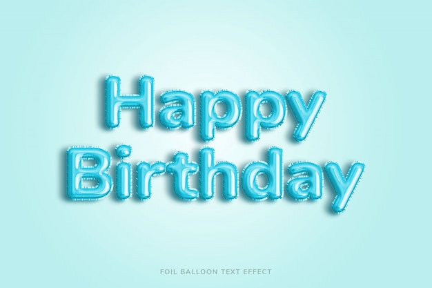 Happy birthday foil balloon text effect