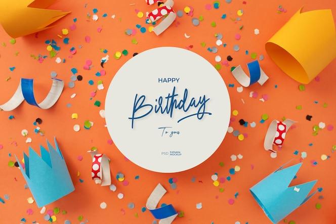 Mockup di biglietto di auguri di buon compleanno con scritte e decorazioni, rendering 3d