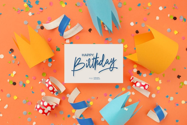 Happy birthday greeting card mockup with lettering and decoration, top view