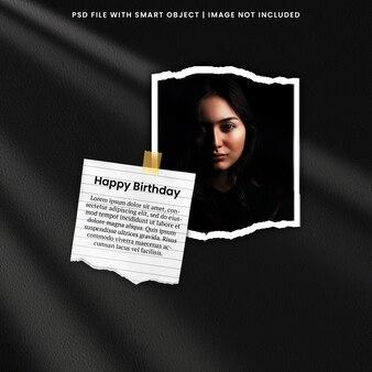 Открытка с днем рождения фото мудборд premium psd