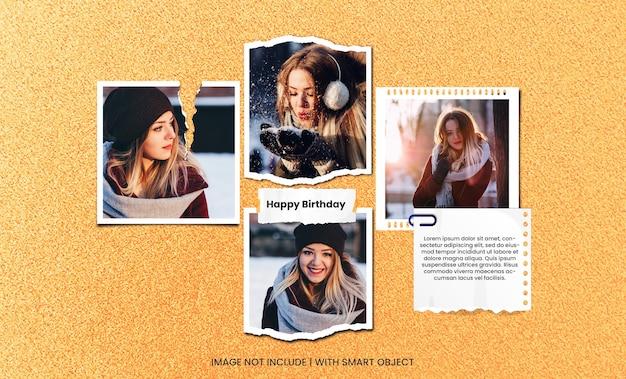 Happy birthday greeting card photo moodboard premium psd