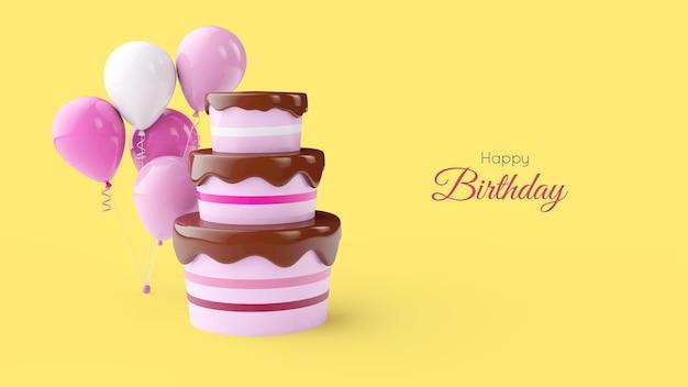 お誕生日おめでとうグリーティングカードテンプレート。ケーキと風船。 3dレンダリング
