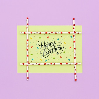 Happy birthday greeting card with mock-up