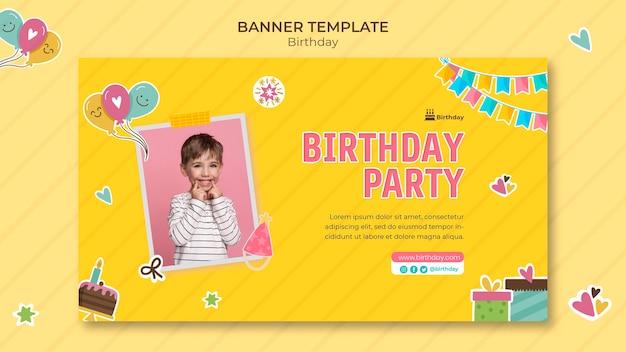 Шаблон горизонтального баннера с днем рождения