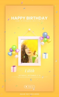 Happy birthday invitation card for colorful instagram social media story template with mockup and