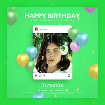 Happy birthday invitation card for green instagram social media post template with mockup