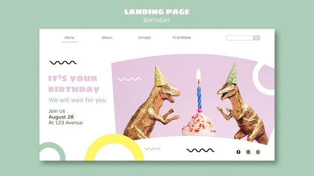 Happy birthday landing page template