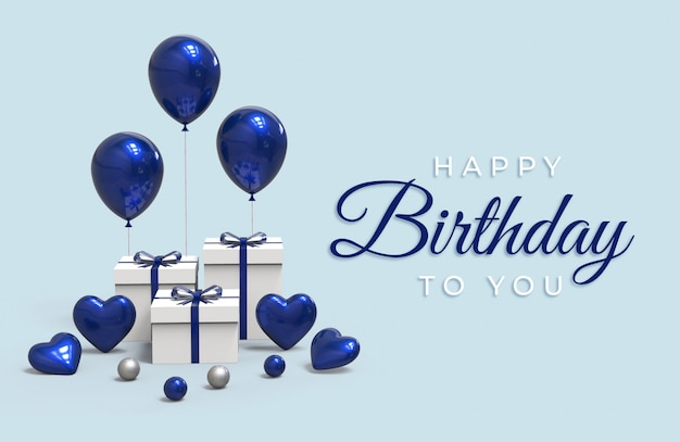 С днем рождения надписи с воздушными шарами и подарочной коробке