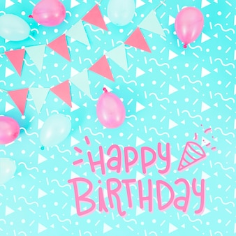생일 축하 모형 및 분홍색 풍선