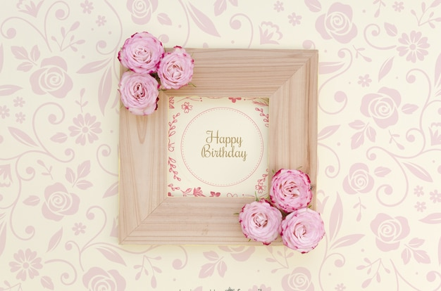Happy birthday mock-up frame with flowers