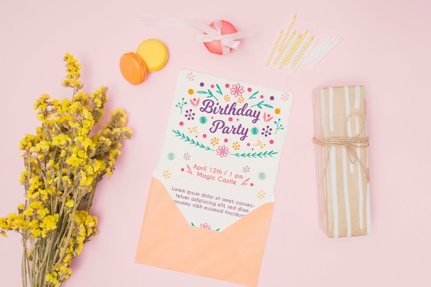 Happy birthday mock-up with letter in envelope
