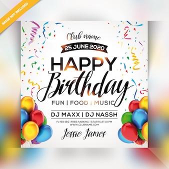 Happy birthday party flyer
