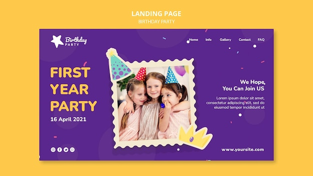 Happy birthday party landing page template