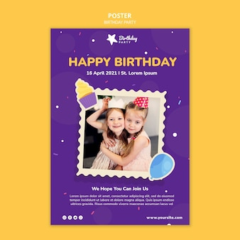 Happy birthday party poster template