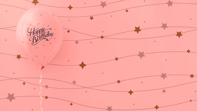 Happy birthday pink balloons with string stars