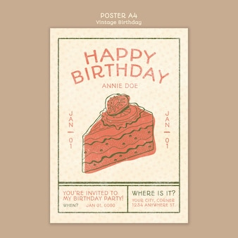 Happy birthday poster concept template
