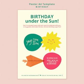 Шаблон плаката с днем рождения