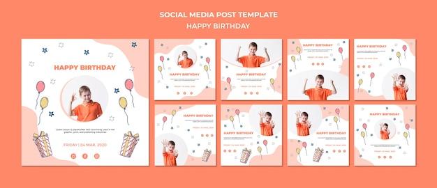 생일 축하 소셜 미디어 게시물 템플릿