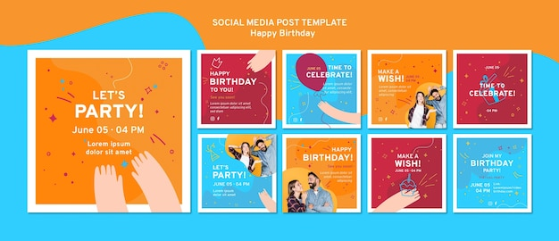 Happy birthday social media post template