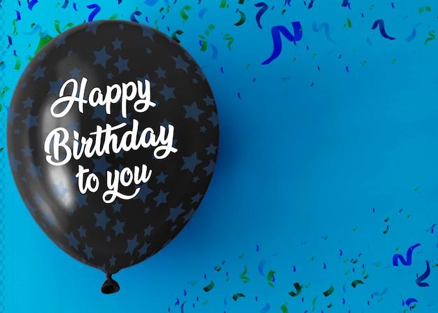 С днем рождения на воздушном шаре с копией пространства и конфетти