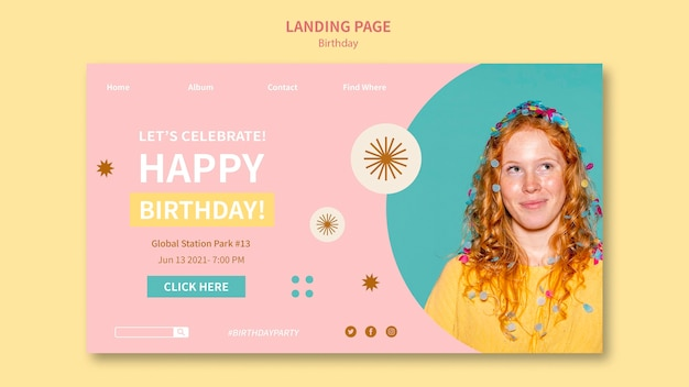 Modello web di buon compleanno