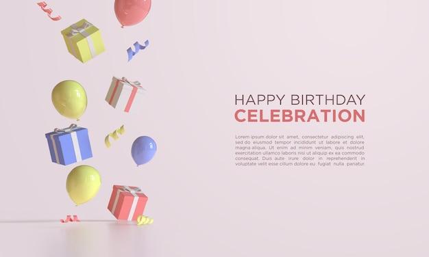 С днем рождения с воздушными шарами 3d-рендеринга на подарочной коробке