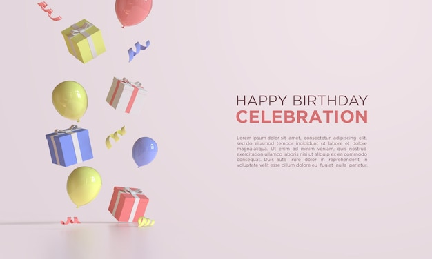Happy birthday with 3d rendering balloons and gift box