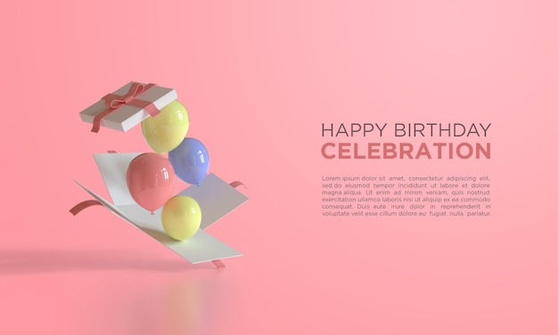Happy birthday with 3d rendering balloons