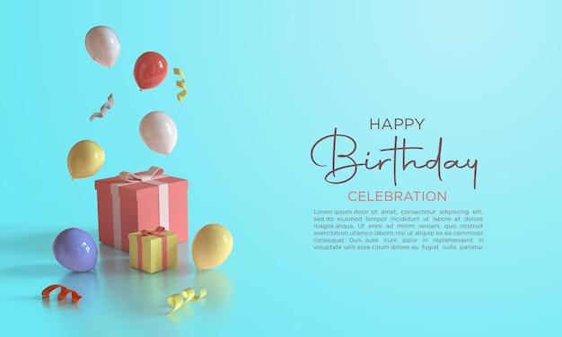 3d 렌더링 풍선 생일 축하합니다