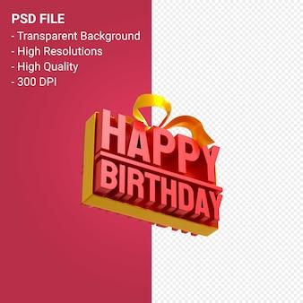 С днем рождения с бантом и лентой 3d дизайн изолированы