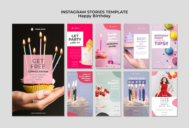 Happy birthday with candles and balloons instagram template