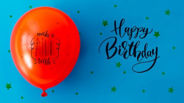 С днем рождения с конфетти и воздушным шаром