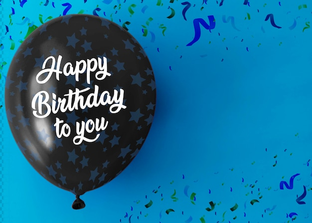 Happy birthday to you on balloon with copy space and confetti