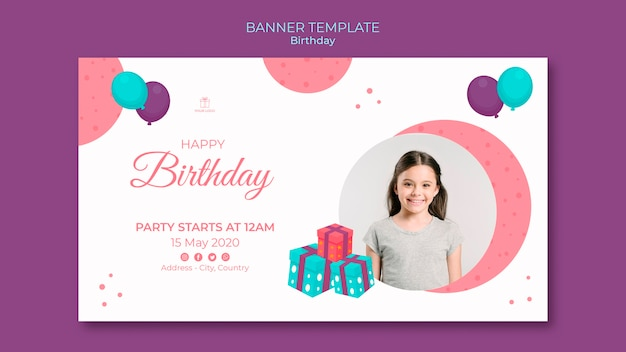 Happy birthday young girl banner template