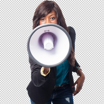 Happy black woman with megaphone