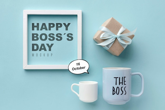 Happy boss's day with frame and present