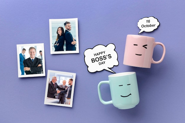 Happy boss's day with mugs and pictures