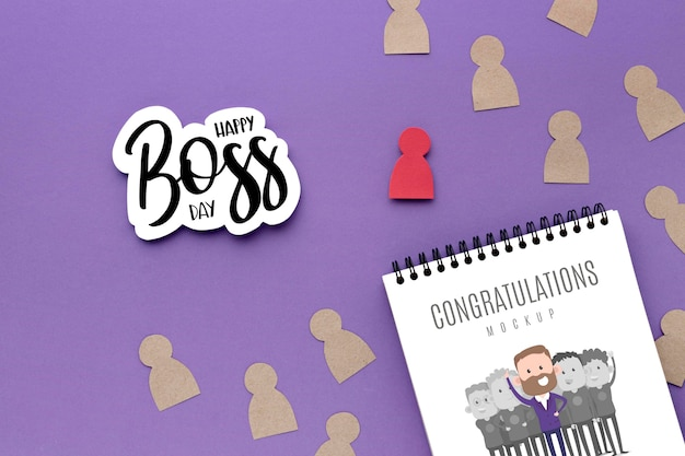 Happy boss's day with notebook