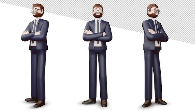 幸せなビジネスマンは腕を組んで、3dレンダリング。