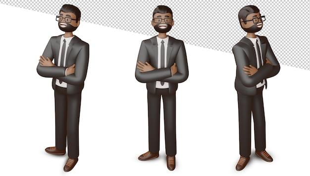 Счастливый деловой человек пересек руки, 3d-рендеринг.