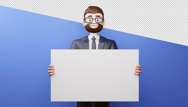빈 화면 3d 렌더링 행복 비즈니스 남자