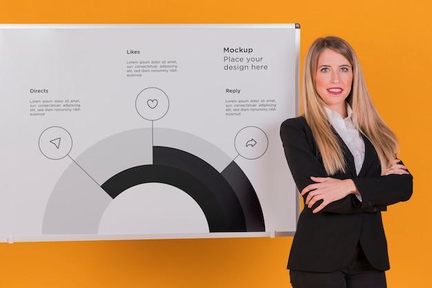 幸せなビジネス女性女性コンセプトモックアップ