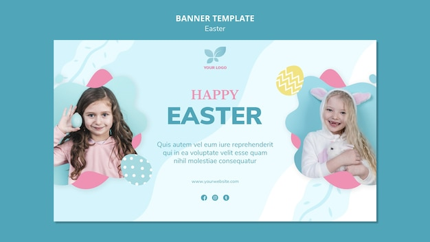 Счастливые дети пасхальный баннер шаблон