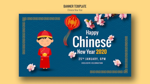 Happy chinese new year banner with lantern