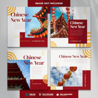 Happy chinese new year social media template