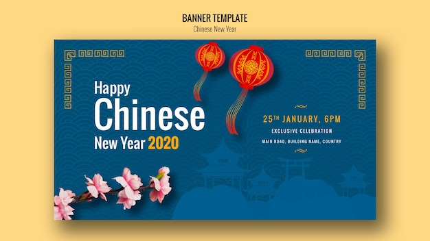 Happy chinese new year with lanterns
