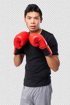 Happy chinese sport man with boxing gloves