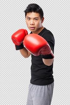 ボクシンググローブを持つ幸せな中国スポーツ男